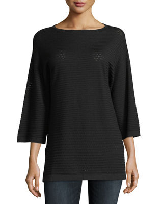 Neiman Marcus Cashmere Collection Cashmere Open-Weave Sweater