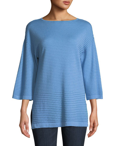 Cashmere Open-Weave Sweater Tunic