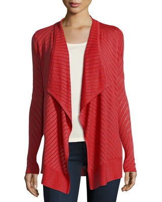 Image 1 of 3: Vertical-Striped Draped Cashmere Cardigan