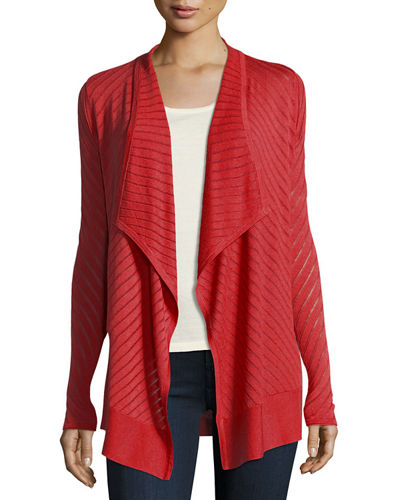 Vertical-Striped Draped Cashmere Cardigan