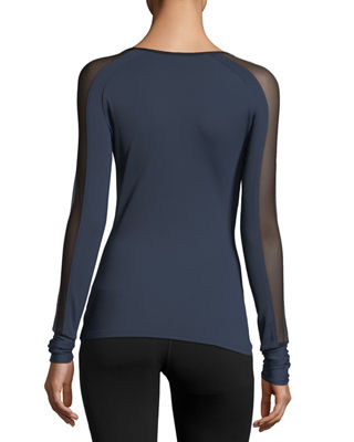 Image 2 of 2: Bolt Scoop-Neck Long-Sleeve Running Top with Mesh