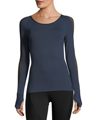 Image 1 of 2: Bolt Scoop-Neck Long-Sleeve Running Top with Mesh