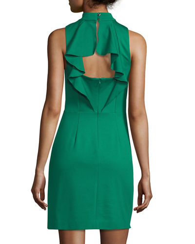 Mock-Neck Sleeveless Cutout Ruffle Back Dress