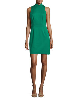 Image 1 of 3: Mock-Neck Sleeveless Cutout Ruffle Back Dress