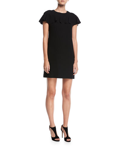 Trina Turk Sparkle Crepe Short-Sleeve Cocktail Dress w/
