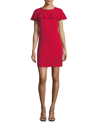 Image 1 of 2: Sparkle Crepe Short-Sleeve Cocktail Dress w/ Ruffle