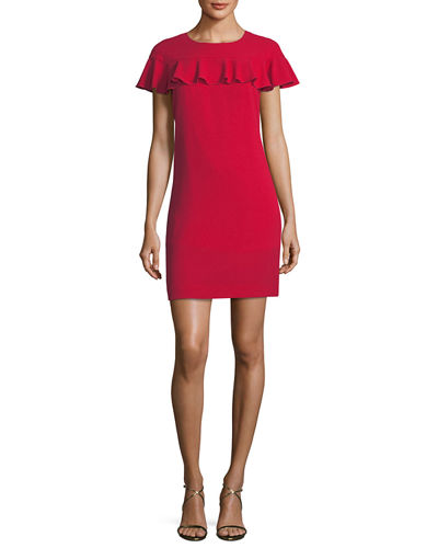Sparkle Crepe Short-Sleeve Cocktail Dress w/ Ruffle