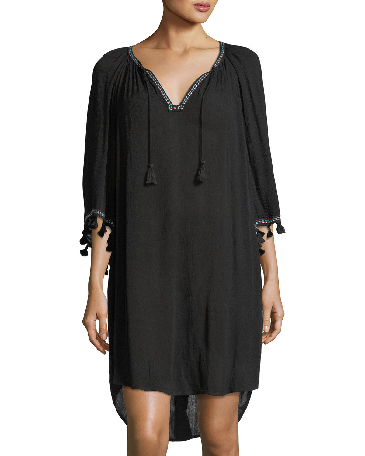 Split-Neck Kaftan Coverup w/ Tassel Ties