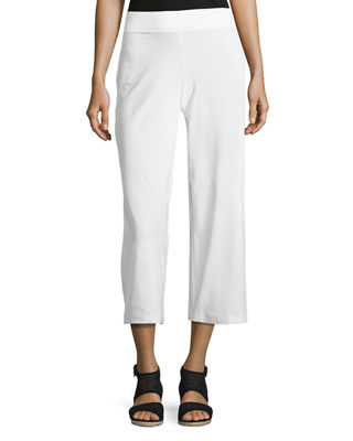 Wide-Leg Washable-Crepe Cropped Pants, Petite
