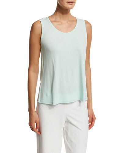 Scoop-Neck Stretch-Silk Tank