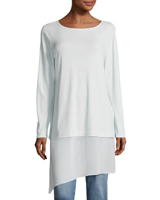 Bateau-Neck Layered Tunic w/ Asymmetric Sheer Hem