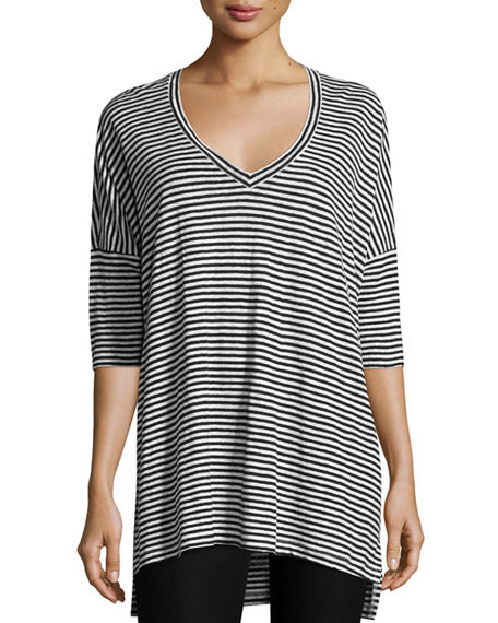 Image 1 of 3: Eileen Fisher Striped Organic Linen Jersey V-Neck Tunic