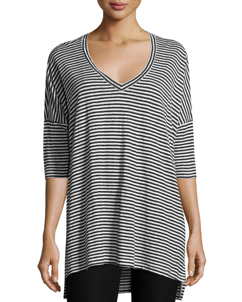 Eileen Fisher Striped Organic Linen Jersey V-Neck Tunic