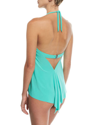 Image 2 of 4: Gigi V-Neck Halter Solid Swim Top