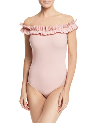 Image 1 of 4: Mondria Off-the-Shoulder Maillot One-Piece Swimsuit