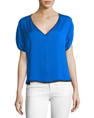 Milly Stretch Silk V-Neck Dolman Top