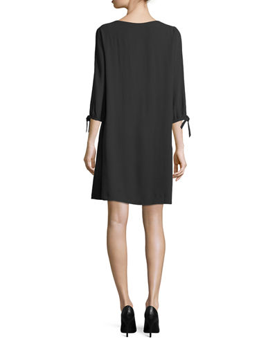Silk Georgette Tie-Sleeve Shift Dress