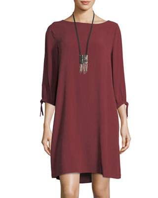 Eileen Fisher Silk Georgette Tie-Sleeve Shift Dress
