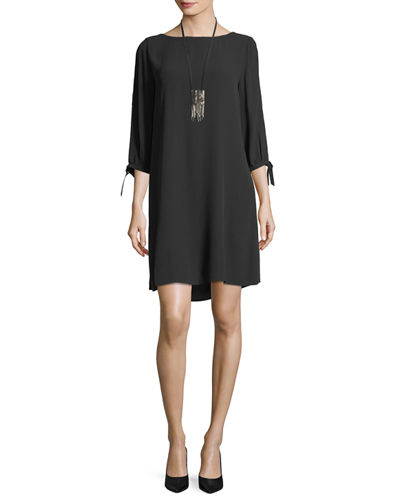 Eileen Fisher Silk Georgette Tie-Sleeve Shift Dress, Plus