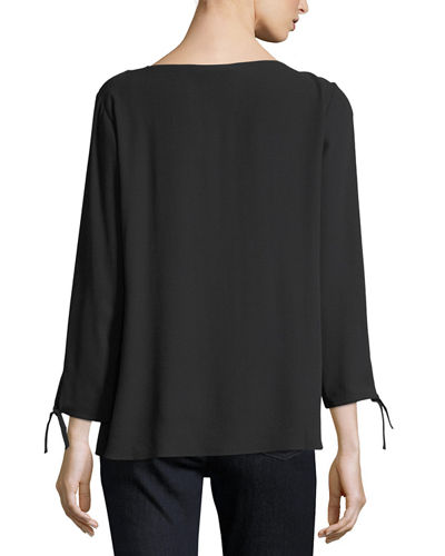Silk Georgette Tie-Sleeve Top, Petite
