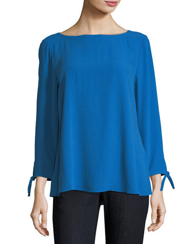 Silk Georgette Tie-Sleeve Top, Plus Size