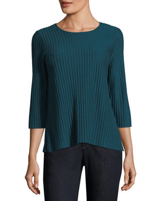 Image 1 of 3: 3/4-Sleeve Fine-Ribbed Wool Top