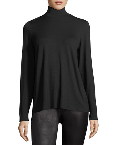 Eileen Fisher Mock-Neck Long-Sleeve Jersey Top, Petite