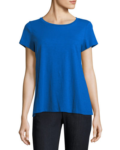 Eileen Fisher Slubby Short-Sleeve Cotton Tee, Petite