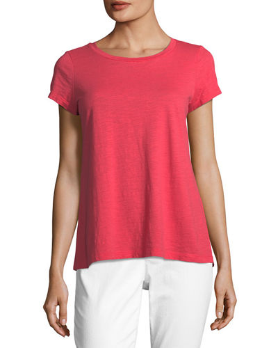 Slubby Short-Sleeve Cotton Tee, Petite