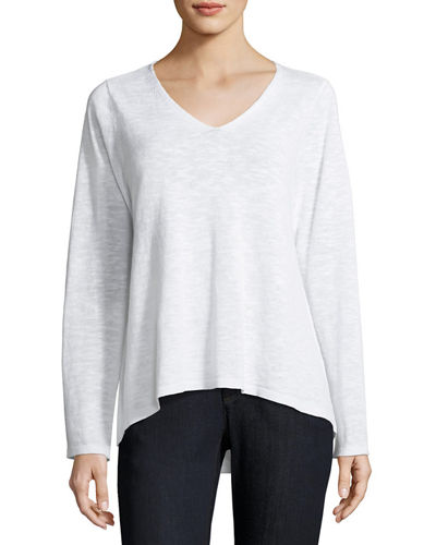 V-Neck Linen-Cotton Slub Top