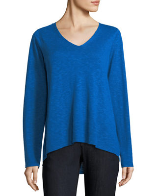 Image 1 of 2: V-Neck Linen-Cotton Slub Top