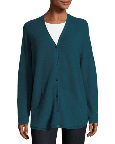 Eileen Fisher Ribbed Wool Button-Front Cardigan, Petite