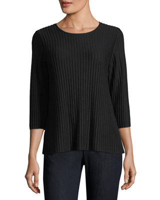 3/4-Sleeve Fine-Ribbed Wool Top, Plus Size