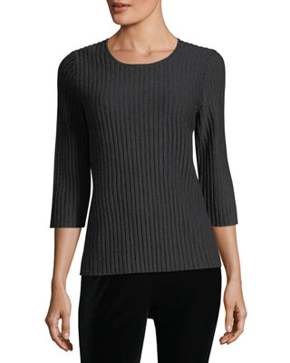 Eileen Fisher 3/4-Sleeve Fine-Ribbed Wool Top, Petite
