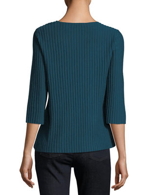 3/4-Sleeve Fine-Ribbed Wool Top, Petite