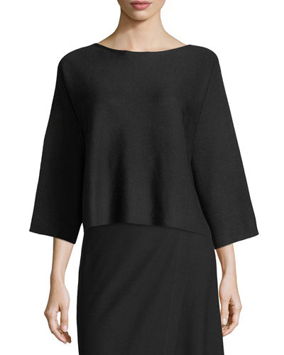 Wool Bateau-Neck Top, Plus Size