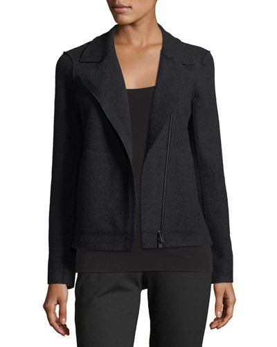 Eileen Fisher Boiled Wool Moto Jacket, Petite and