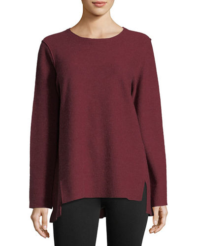 Round-Neck Boiled Wool Tunic Top, Petite