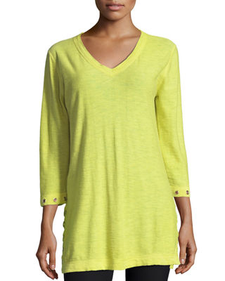Image 1 of 3: 3/4-Slub V-Neck Sweater
