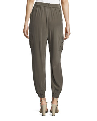 Image 2 of 3: Belted Silk Cargo Pants
