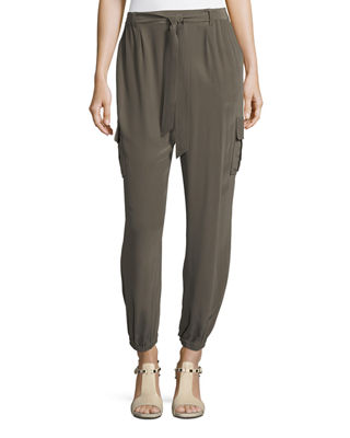 Image 1 of 3: Belted Silk Cargo Pants