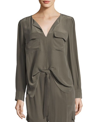 Silk Flap-Pocket Top, Petite