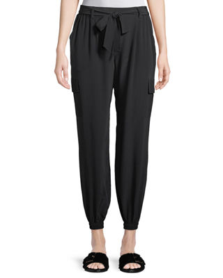 Image 1 of 3: Belted Silk Cargo Pants, Petite