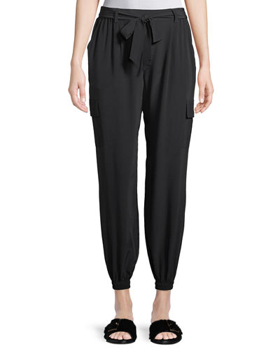Belted Silk Cargo Pants, Petite