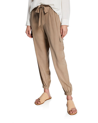 Plus Size Belted Silk Cargo Pants