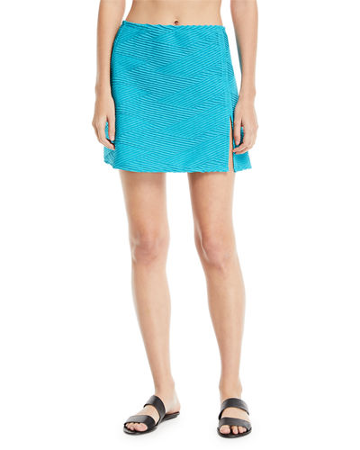 Essence Textured Swim Coverup Mini Skirt