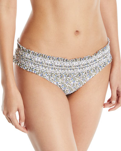 Costa Printed Hipster Smocked Swim Bikini Bottoms