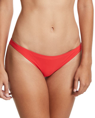 Solid High-Cut Hipster Bikini Swim Bottoms in Poppy