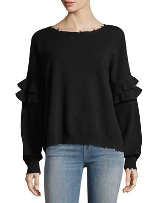The Ruffle Crew-Neck Wool-Cashmere Sweater