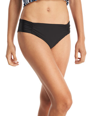 Hey There Shirred-Side Hipster Swim Bottom, Plus Size